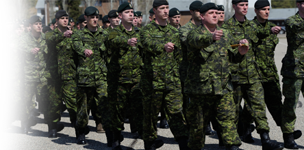 A group of soldiers marching side by side